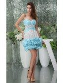 Sheath Sweetheart Short Tulle Prom Dress With Beading