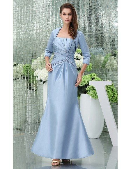 Mermaid Strapless Ankle-length Satin Mother of the Bride Dress