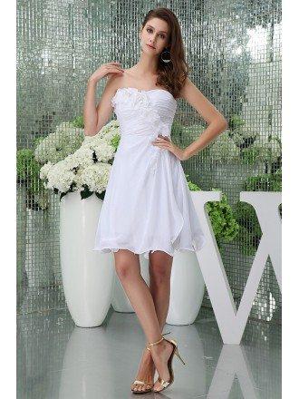 A-line Strapless Short Chiffon Wedding Dress With Flowers