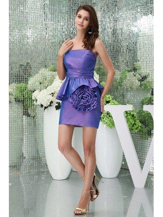 Sheath Strapless Short Taffeta Cocktail Dress