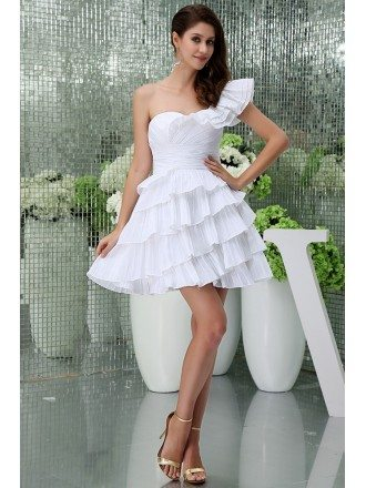 A-line One-shoulder Short Tulle Homecoming Dress