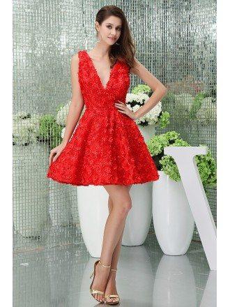 A-line V-neck Short Lace Homecoming Dress
