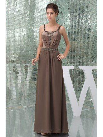 A-line Strapless Ankle-length Satin Chiffon Mother of the Bride Dress