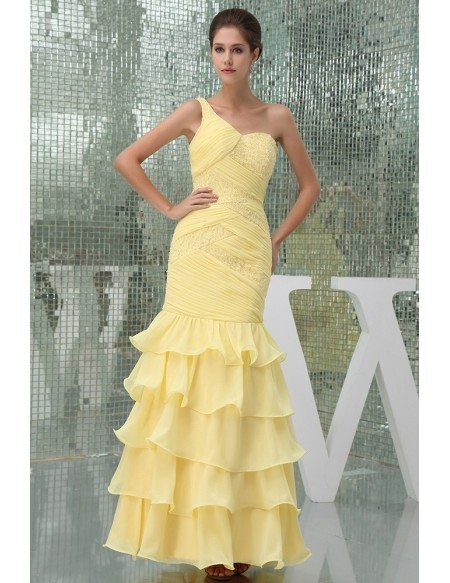 Mermaid One-shoulder Ankle-length Chiffon Prom Dress With Beading