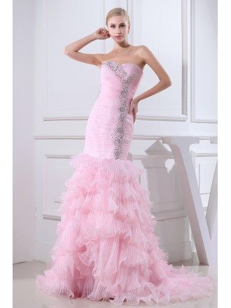 Mermaid Sweetheart Sweep Train Tulle Wedding Dress With Cascading Ruffle