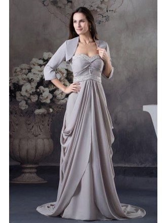 A-line Sweetheart Sweep Train Chiffon Mother of the Bride Dress