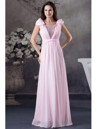 Mermaid Square Neckline Floor-length Chiffon Prom Dress With Beading