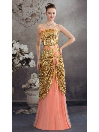 A-line Strapless Floor-length Chiffon Sequined Satin Prom Dress