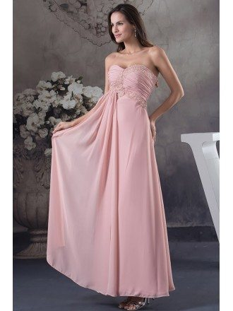 A-line Sweetheart Ankle-length Chiffon Prom Dress With Beading