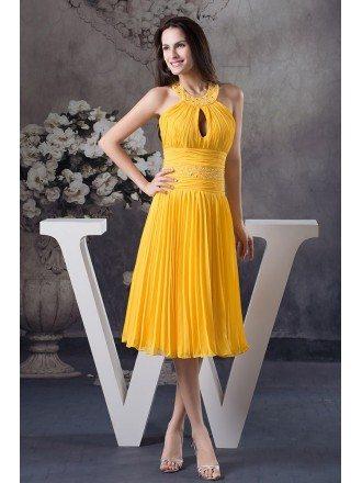 A-line Halter Knee-length Chiffon Homecoming Dress With Beading
