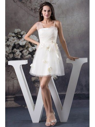 A-line Strapless Short Tulle Homecoming Dress With Flowers