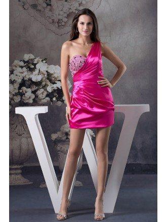 Sheath One-shoulder Short Satin Homecoming Dress With Beading