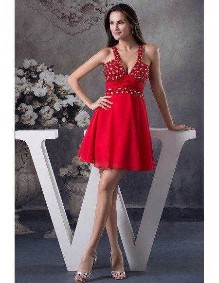 A-line V-neck Short Chiffon Prom Dress With Beading