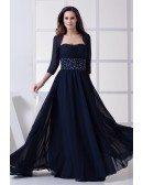Dark Navy Blue Beaded Chiffon Long Mother of Bride Dress with Jacket