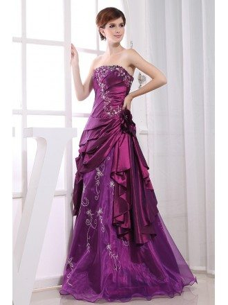 Purple Ball-gown Strapless Floor-length Satin Tulle Wedding Dress With Beading