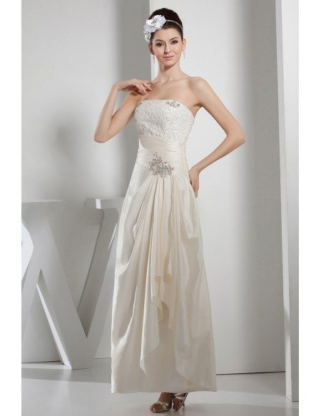 A-line Strapless Ankle-length Satin Wedding Dress With Beading