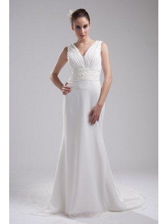 Pleated V-neck Beaded Waist Long Chiffon Wedding Dress