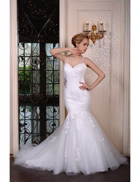 Mermaid V-neck Court Train Organza Wedding Dress With Beading Appliquer Lace