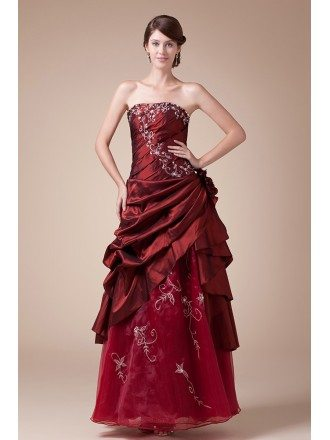 Burgundy Strapless Embroidered Pleated Ankle Length Wedding Dress