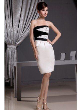 Sheath Strapless Knee-length Satin Wedding Dress