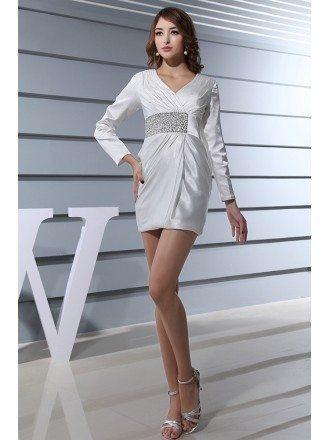 Sheath V-neck Short Satin Wedding Dress With Beading