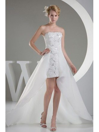 Chic Strapless Lace Short Front Long Back Wedding Dress