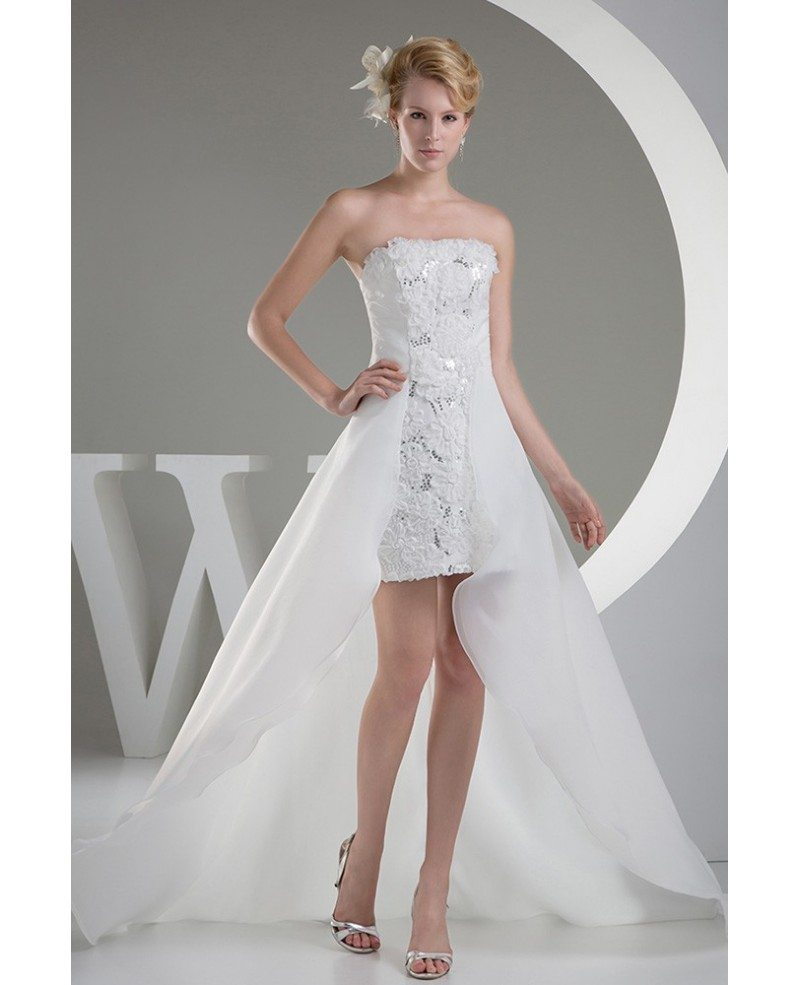 Classy High Low Wedding Dresses With Train Chic Strapless