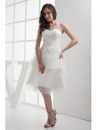 Short Puffy White Sweetheart Knee Length Wedding Dress