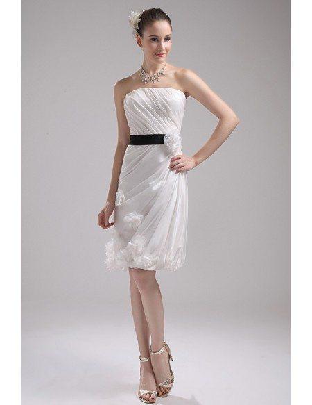 White with Black Sash Floral Short Wedding Dress Reception
