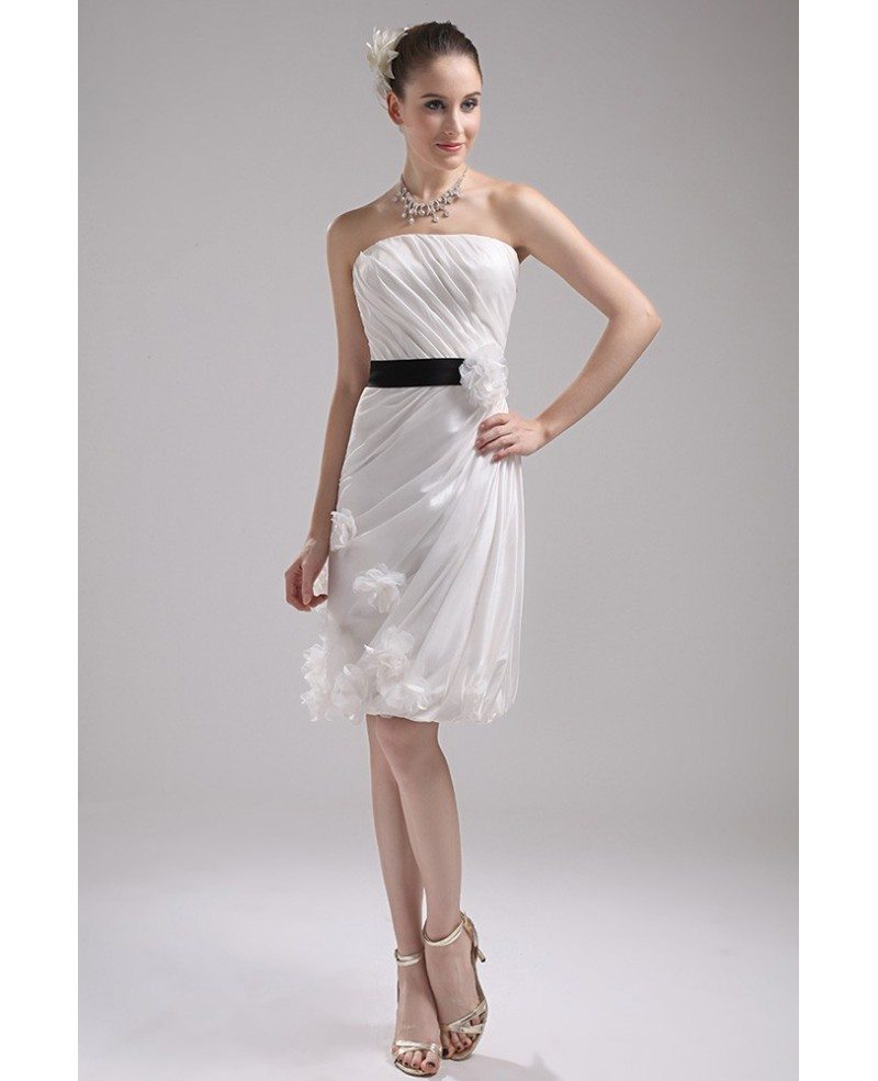 White With Black Wedding Gowns: Elegant Reception Short Wedding Dresses With Color White
