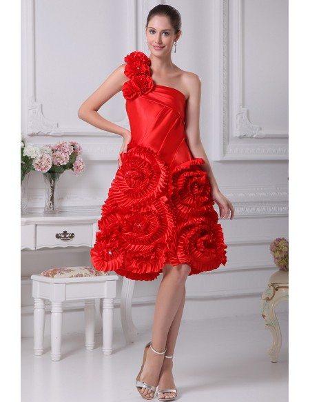 Red Reception Short Wedding Dresses Modern Beautiful One Shoulder Style In Knee Length Op4248 168 9 Gemgrace