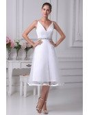 Simple Spaghetti Straps Short Tulle Beaded Bridal Dress with Deep V Neck