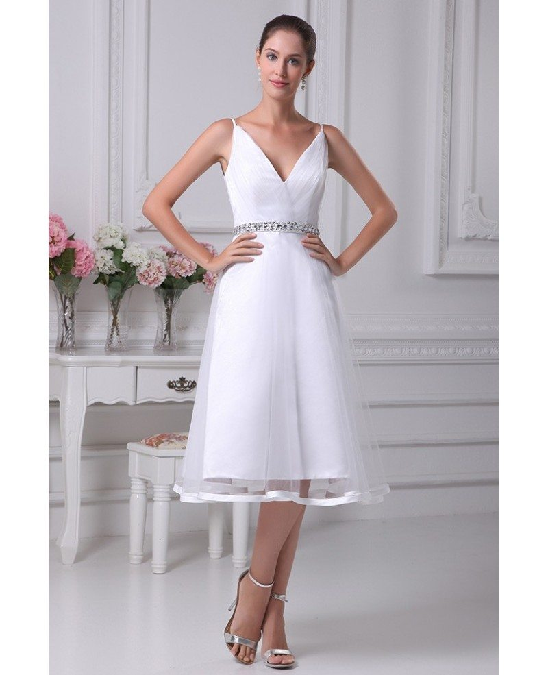 Simple Short Tulle Wedding Dresses With Straps Beaded With