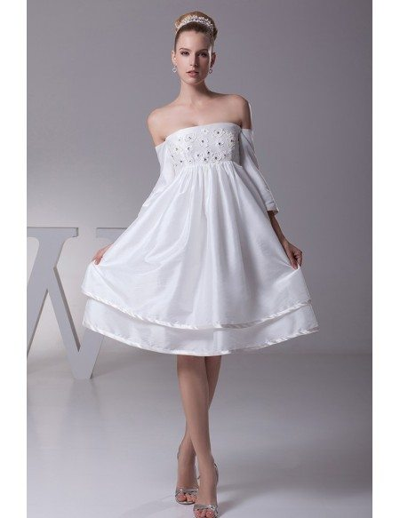 Strapless Short White Floral Beading Taffeta Bridal Dress with Sleeves