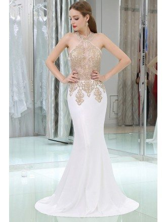 Long Halter Beaded Mermaid Chiffon Prom Dress With Gold Applique Lace