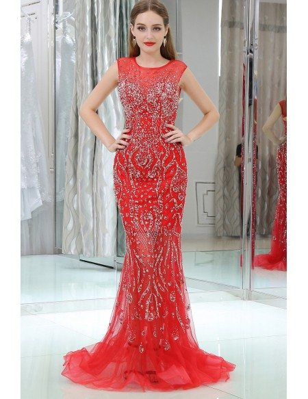 Sparkly Beading Tulle Mermaid Red Prom Dress With Sequins B002 ,  GemGrace.com