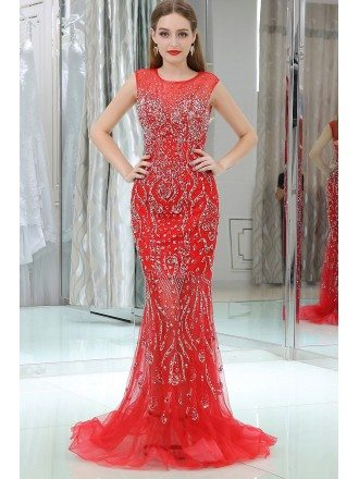 Sparkly Beading Tulle Mermaid Red Prom Dress With Sequins