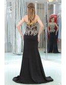 Applique Lace See Through Black Prom Dress With Split Front