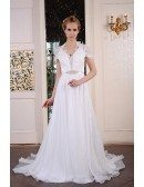 A-Line V-neck Sweep Train Organza Wedding Dress With Beading Appliquer Lace