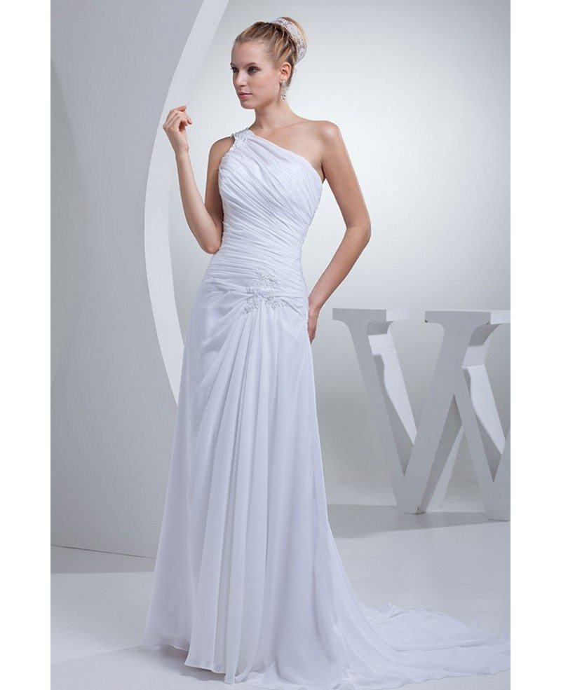 Grecian Style Wedding Gown: One Shoulder Greek Style Pleated Long Wedding Dress
