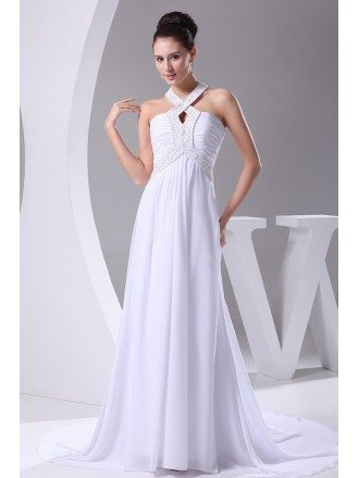 Plain White Long Halter Beading Chiffon Wedding Dress with Train