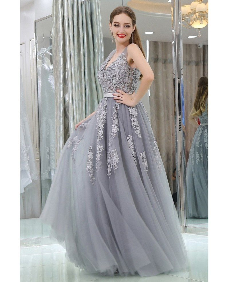 Girl's Lavender Tulle Lace Long Prom Dress For Party #B008 ...