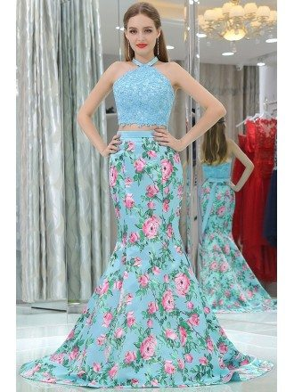 Gorgeous Two Pieces Blue Lace Mermaid Prom Dress With Floral Print
