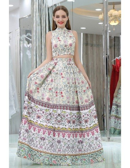Special Floral Printed Formal Prom Dress Long In 2 Piece