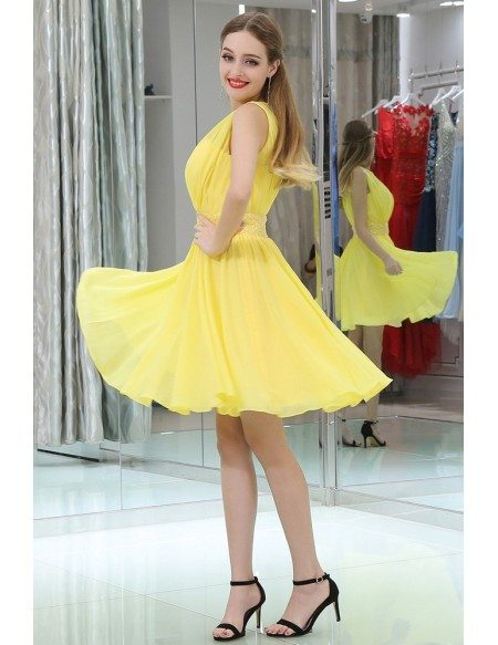 Simple High Neck Short Yellow Chiffon Prom Dress With Beading Waist