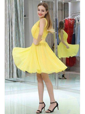 Simple High Neck Short Yellow Chiffon Prom Dress With Beading Waist