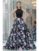 Unique Long Satin Black Printed Floral Prom Gowns With Halter Neck