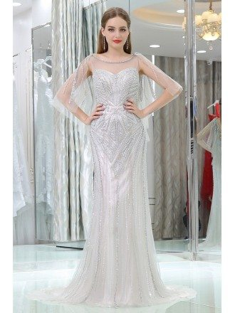 Sexy Gray Long Slim Prom Evening Dress With Beading Sequins