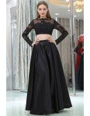 Unique Simple Satin Black Prom Skirt With Modest Lace Jacket
