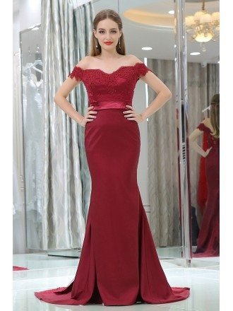 Off Shoulder Burgundy Lace Satin Formal Evening Dress In Mermaid Style